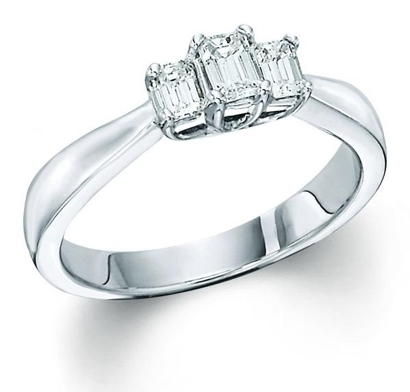 View Emerald Cut 3 Stone Ring